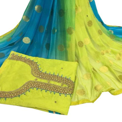 Glorious Light Green Colored Partywear Embroidered Modal Chanderi Cotton Dress Material