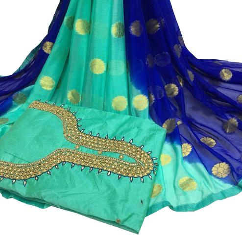Blissful Rama Green Colored Partywear Embroidered Modal Chanderi Cotton Dress Material