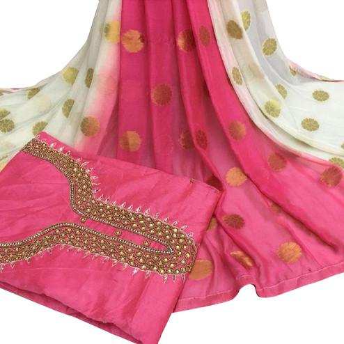 Beautiful Pink Colored Partywear Embroidered Modal Chanderi Cotton Dress Material