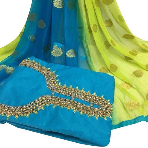 Unique Sky Blue Colored Partywear Embroidered Modal Chanderi Cotton Dress Material