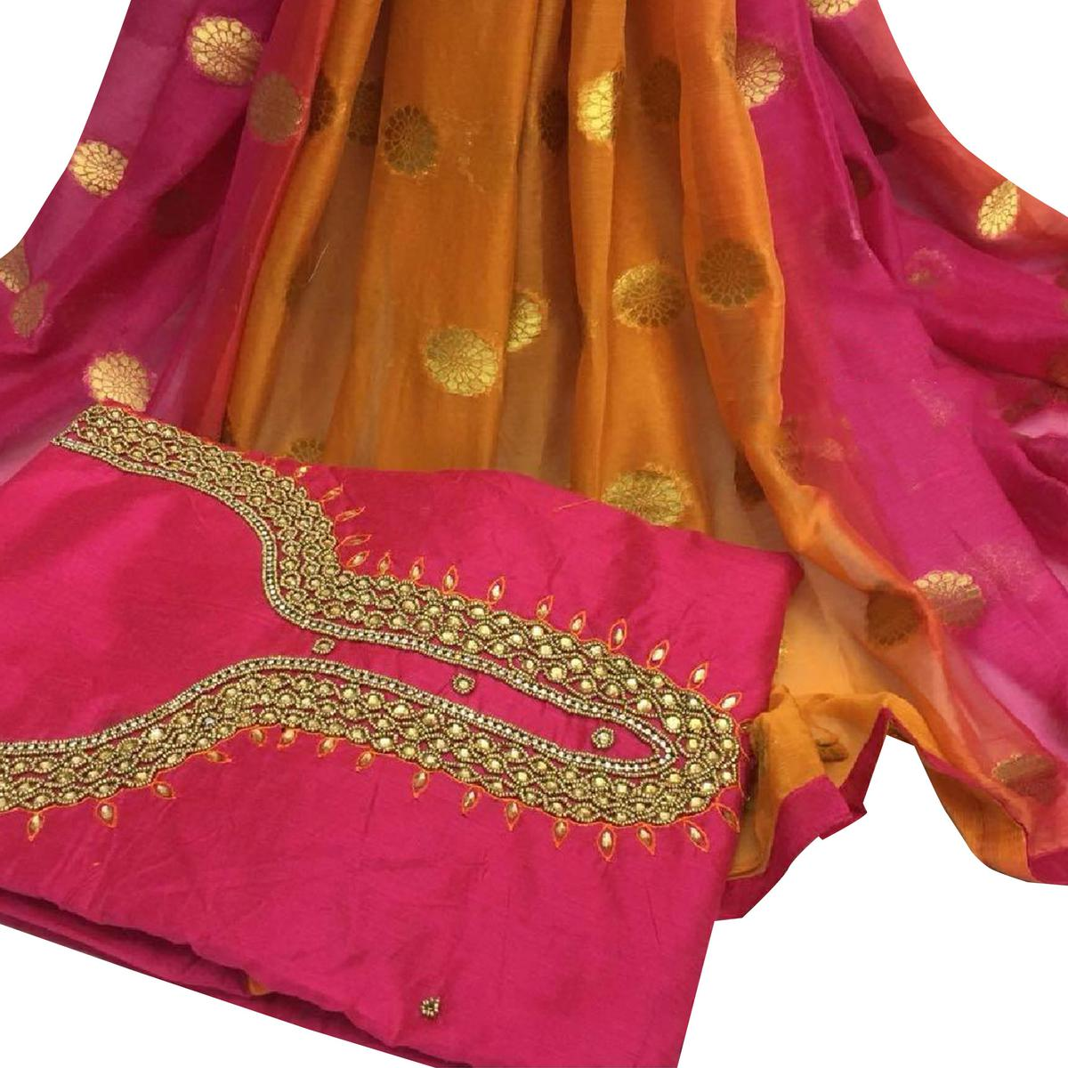 Pretty Deep Pink Colored Partywear Embroidered Modal Chanderi Silk Dress Material