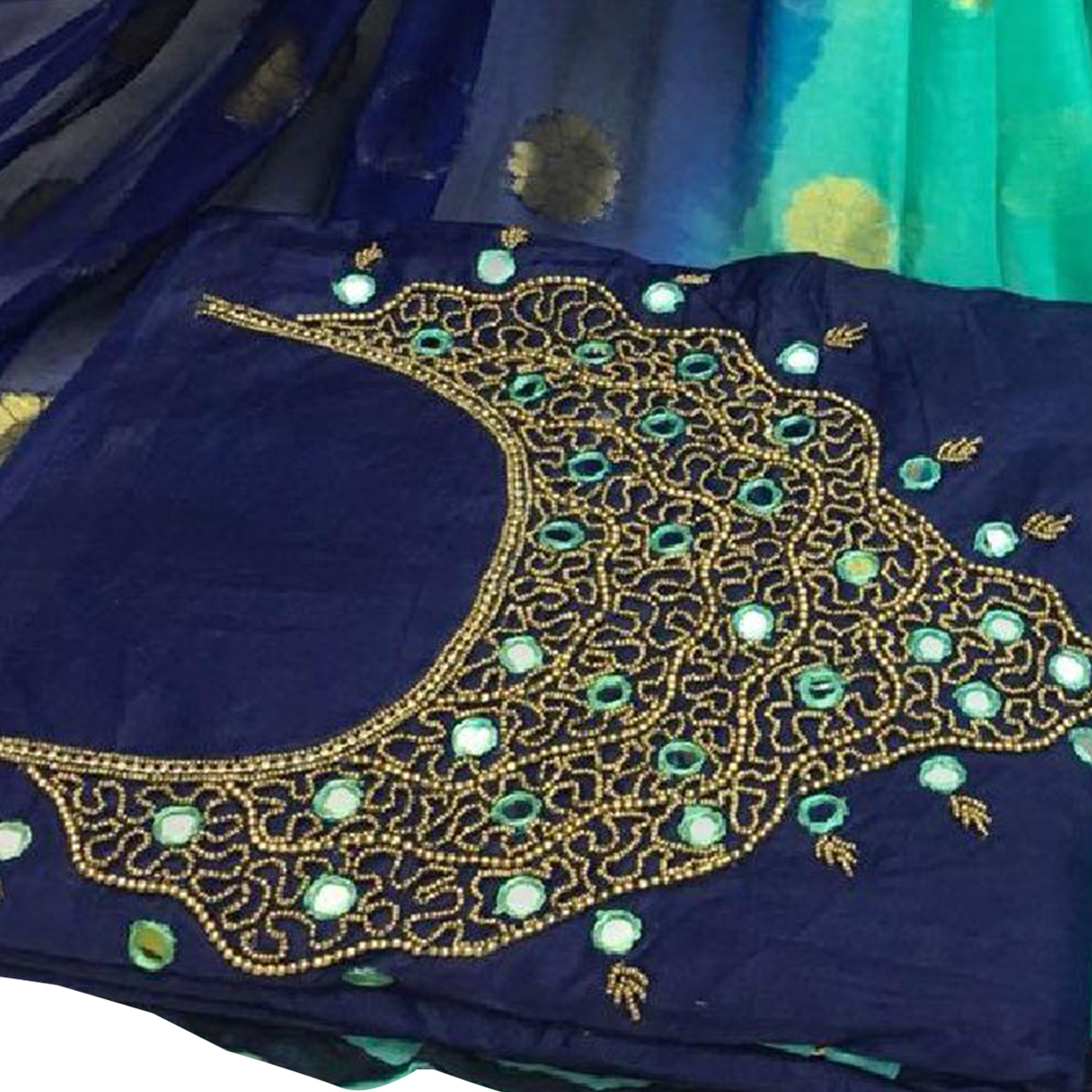 Snazzy Navy Blue Colored Partywear Embroidered Modal Chanderi Silk Dress Material