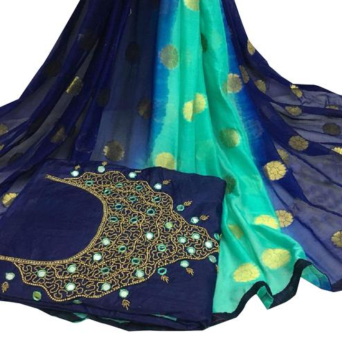 Snazzy Navy Blue Colored Partywear Embroidered Modal Chanderi Cotton Dress Material