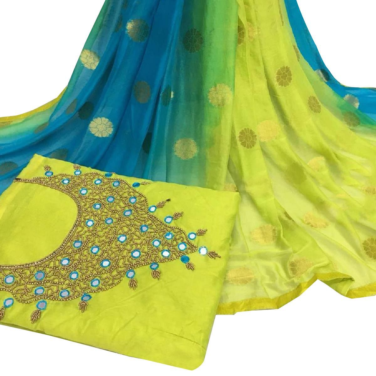 Beautiful Light Green Colored Partywear Embroidered Modal Chanderi Silk Dress Material