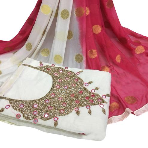 Pleasant White Colored Partywear Embroidered Modal Chanderi Cotton Dress Material