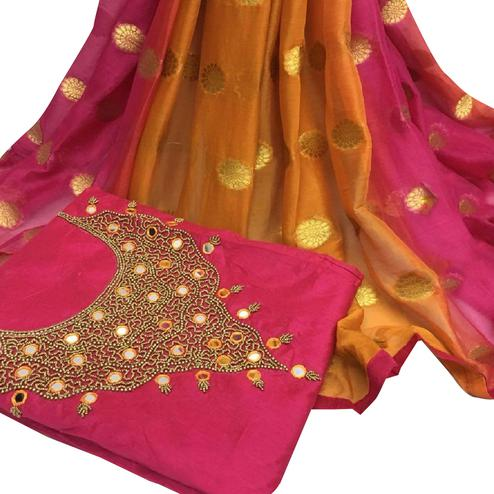 Glorious Deep Pink Colored Partywear Embroidered Modal Chanderi Cotton Dress Material