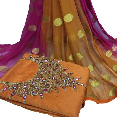 Classy Orange Colored Partywear Embroidered Modal Chanderi Cotton Dress Material