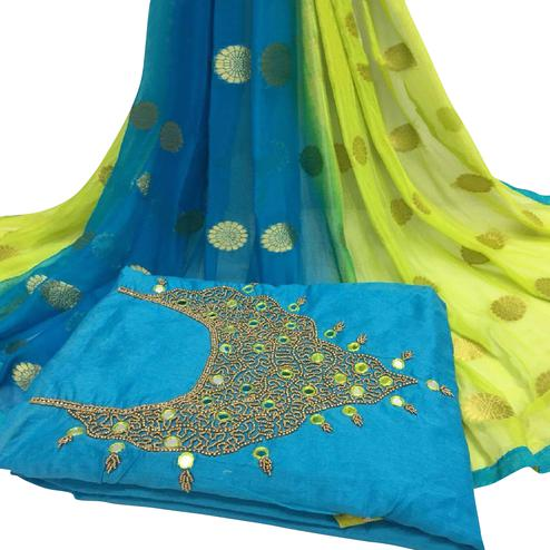 Staring Sky Blue Colored Partywear Embroidered Modal Chanderi Cotton Dress Material