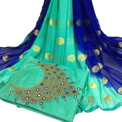Blooming Rama Green Colored Partywear Embroidered Modal Chanderi Cotton Dress Material