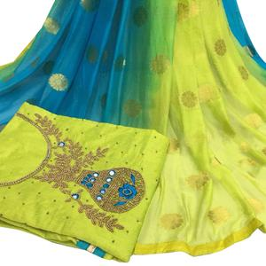 Radiant Light Green Colored Partywear Embroidered Modal Chanderi Cotton Dress Material