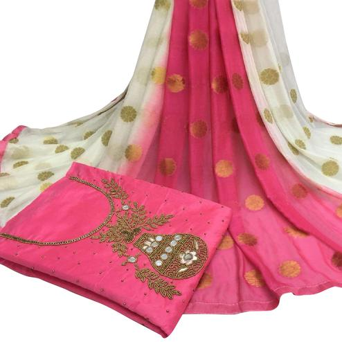 Exotic Pink Colored Partywear Embroidered Modal Chanderi Cotton Dress Material