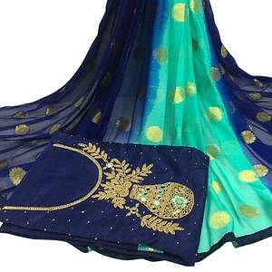 Lovely Navy Blue Colored Partywear Embroidered Modal Chanderi Cotton Dress Material