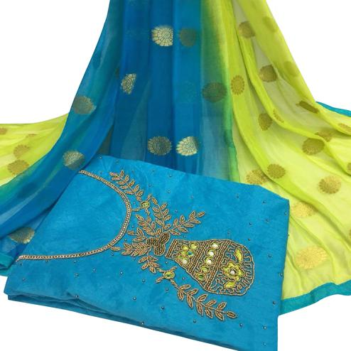 Pretty Sky Blue Colored Partywear Embroidered Modal Chanderi Cotton Dress Material