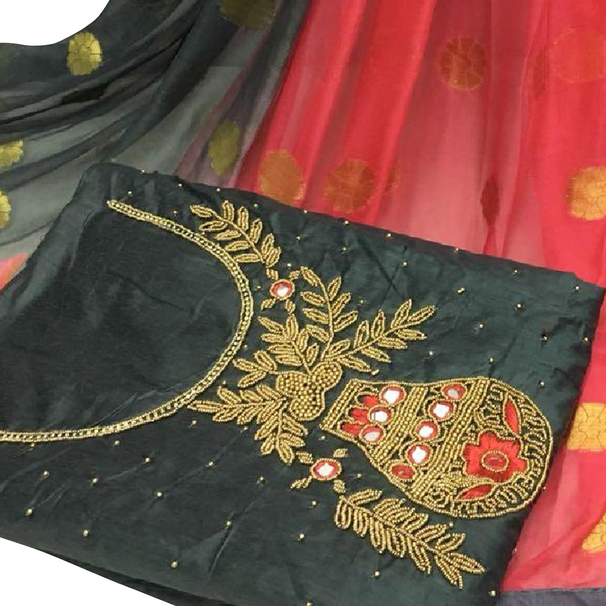Gorgeous Black Colored Partywear Embroidered Modal Chanderi Silk Dress Material