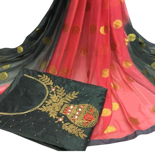 Gorgeous Black Colored Partywear Embroidered Modal Chanderi Cotton Dress Material