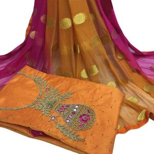 Elegant Orange Colored Partywear Embroidered Modal Chanderi Cotton Dress Material