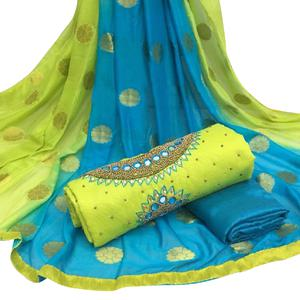 Snazzy Light Green Colored Partywear Embroidered Modal Chanderi Silk Dress Material