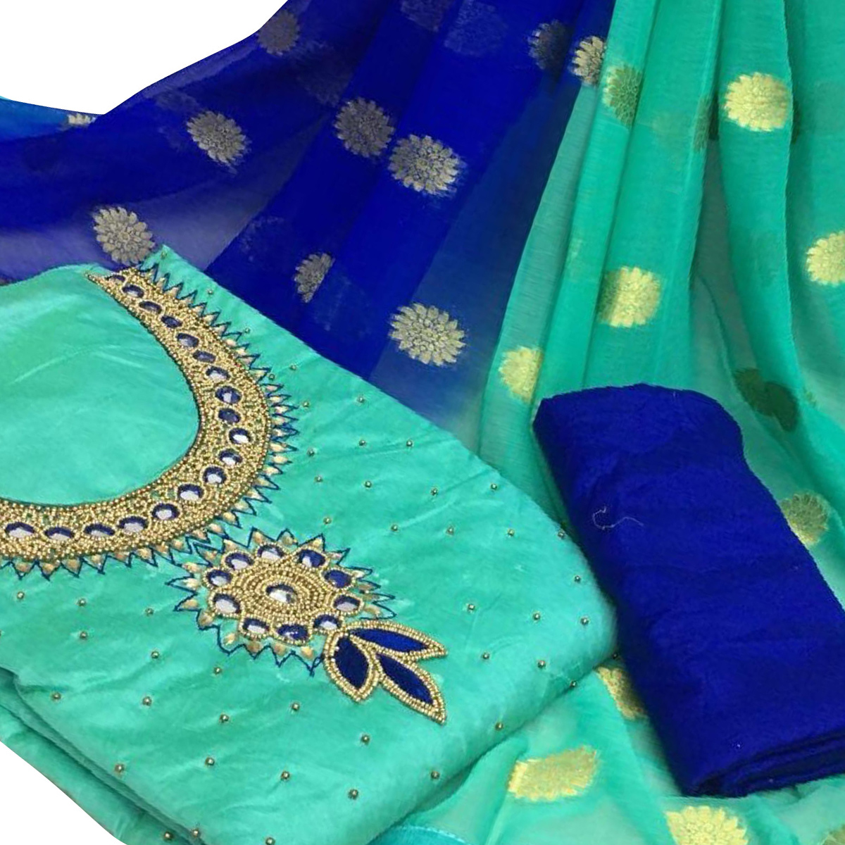 Innovative Rama Green Colored Partywear Embroidered Modal Chanderi Cotton Dress Material