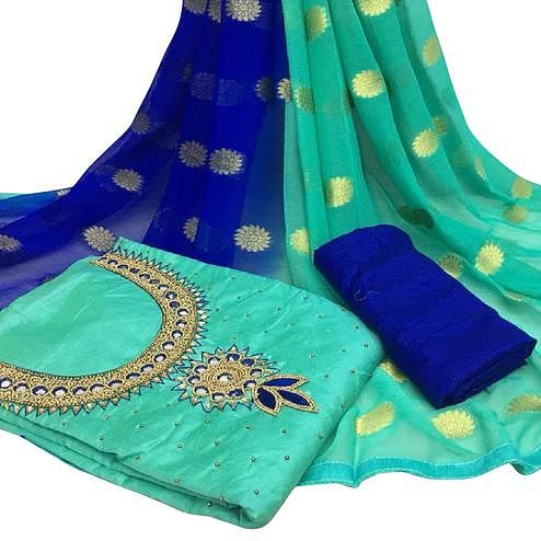 Innovative Rama Green Colored Partywear Embroidered Modal Chanderi Silk Dress Material