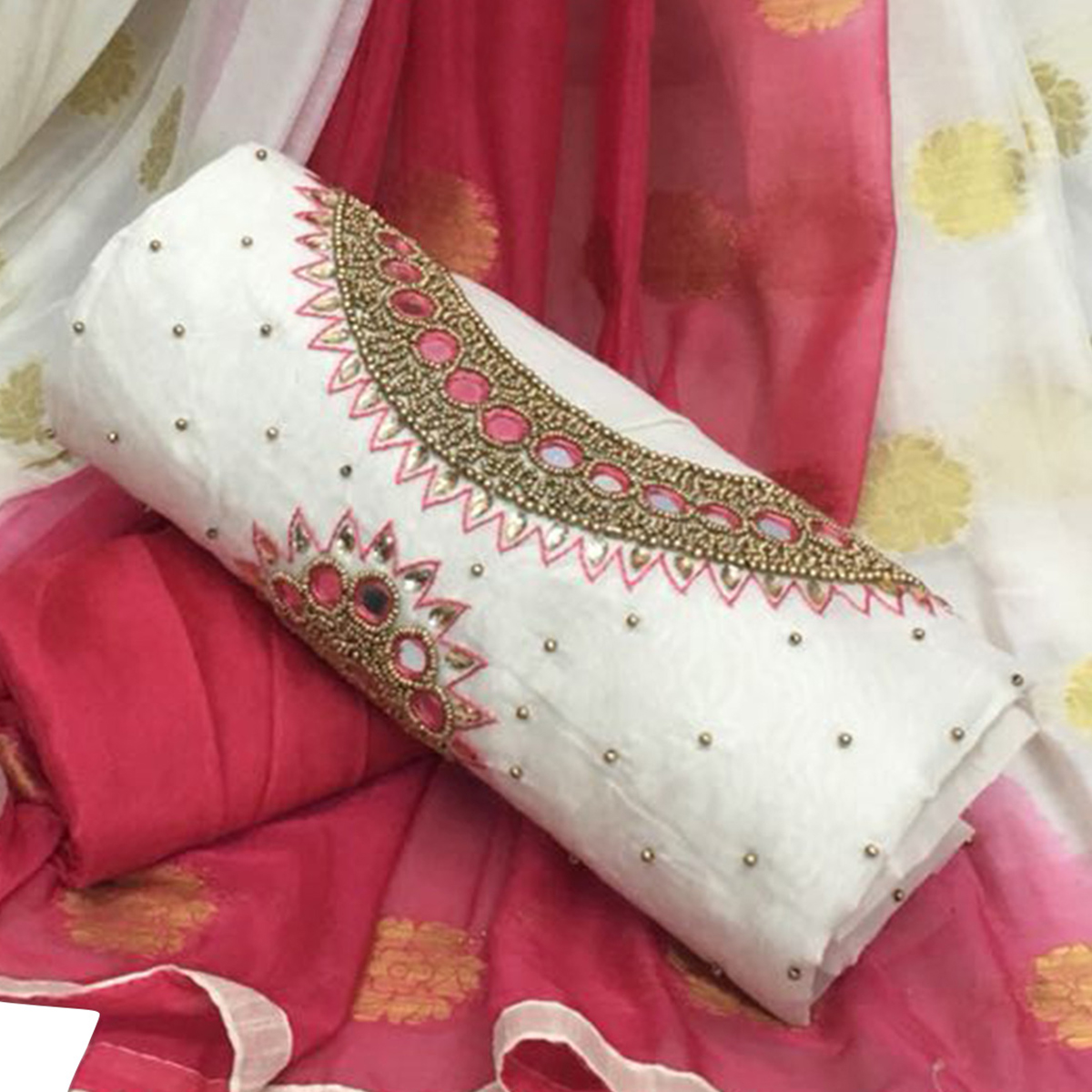 Stunning White Colored Partywear Embroidered Modal Chanderi Silk Dress Material