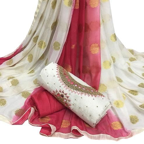 Stunning White Colored Partywear Embroidered Modal Chanderi Cotton Dress Material