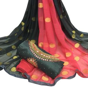 Exotic Black Colored Partywear Embroidered Modal Chanderi Cotton Dress Material