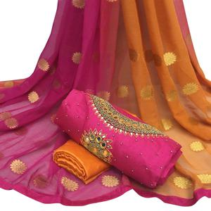 Fantastic Deep Pink Colored Partywear Embroidered Modal Chanderi Silk Dress Material