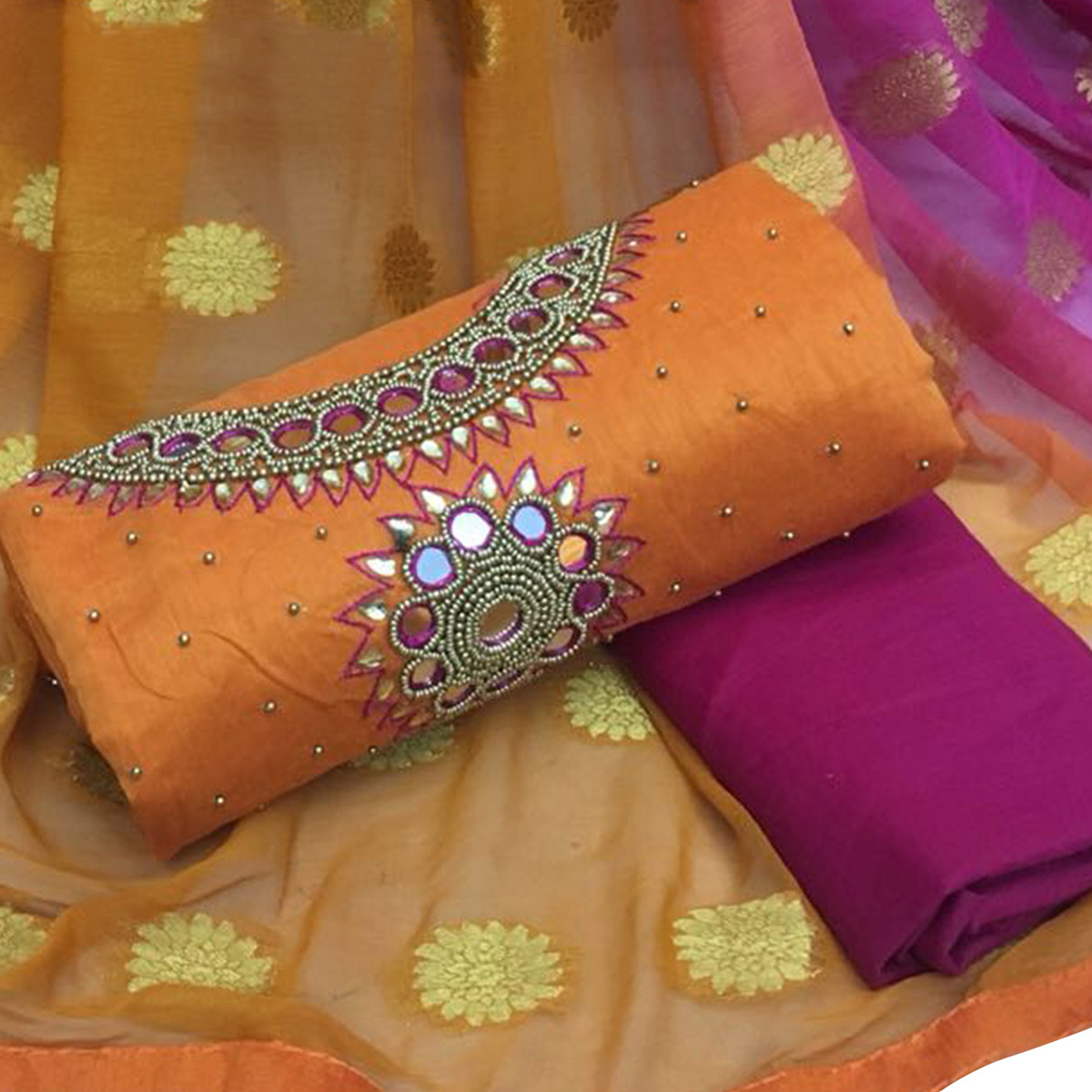 Blissful Orange Colored Partywear Embroidered Modal Chanderi Cotton Dress Material