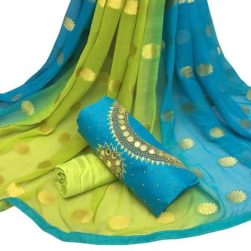 Arresting Sky Blue Colored Partywear Embroidered Modal Chanderi Cotton Dress Material