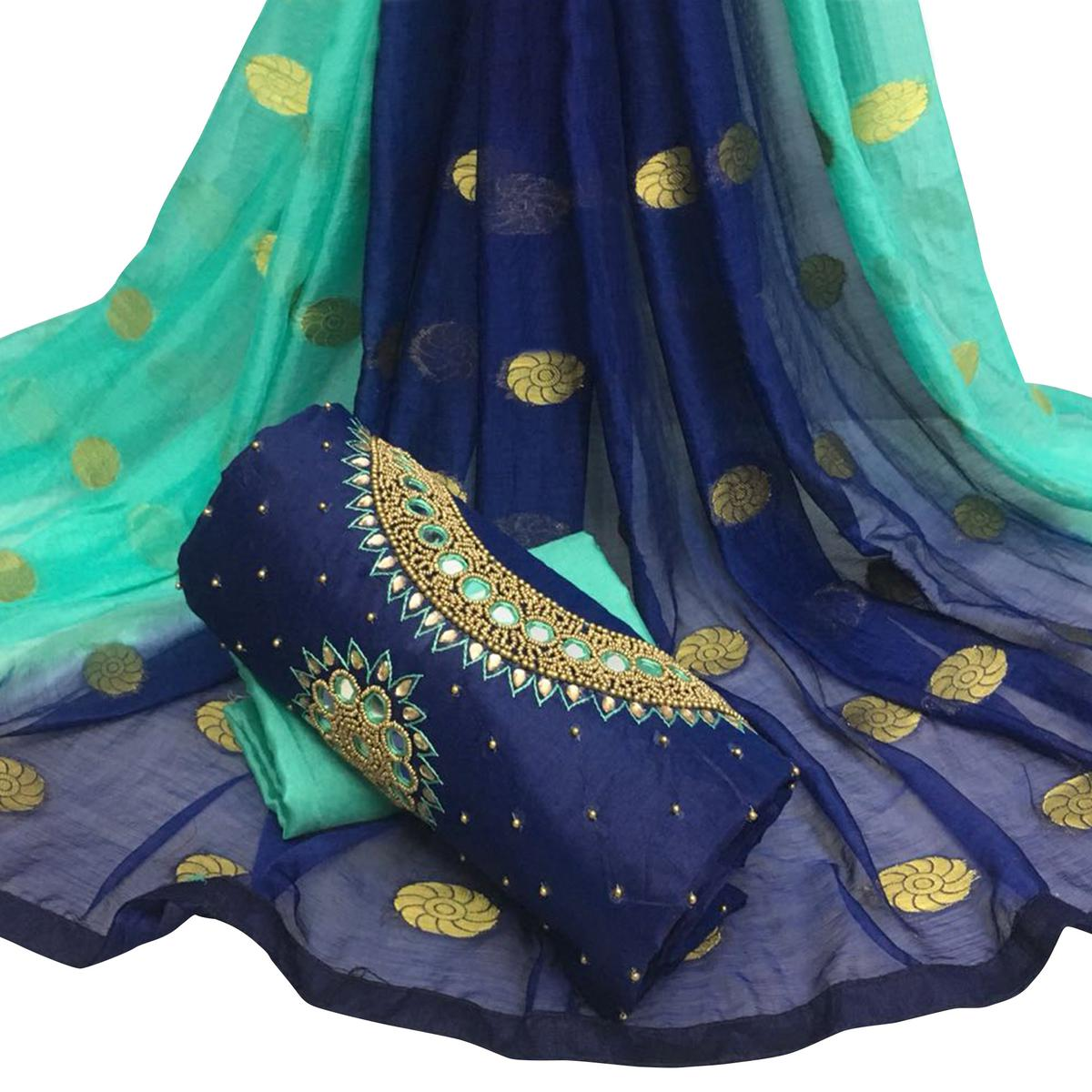 Impressive Navy Blue Colored Partywear Embroidered Modal Chanderi Silk Dress Material