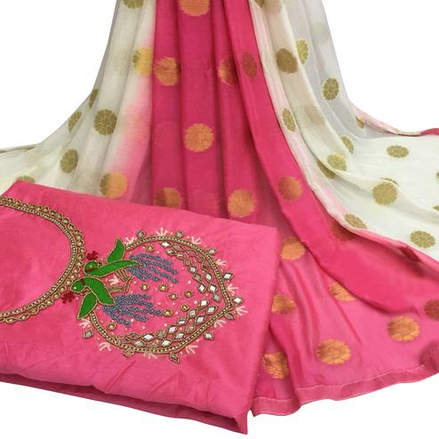 Alluring Pink Colored Partywear Embroidered Modal Chanderi Cotton Dress Material