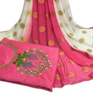 Alluring Pink Colored Partywear Embroidered Modal Chanderi Silk Dress Material