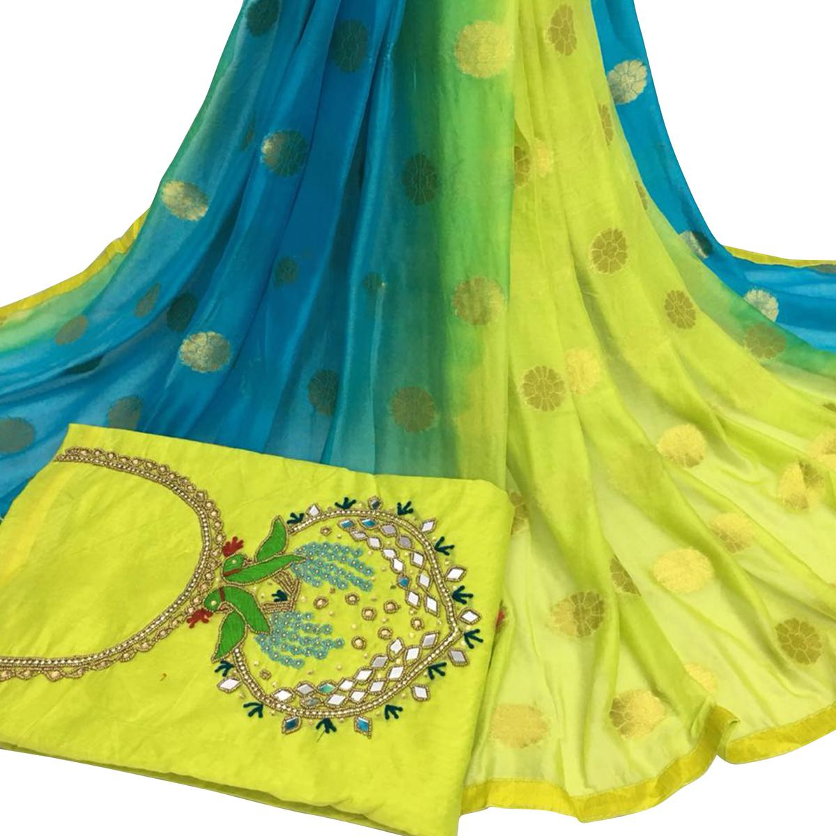 Desirable Light Green Colored Partywear Embroidered Modal Chanderi Silk Dress Material