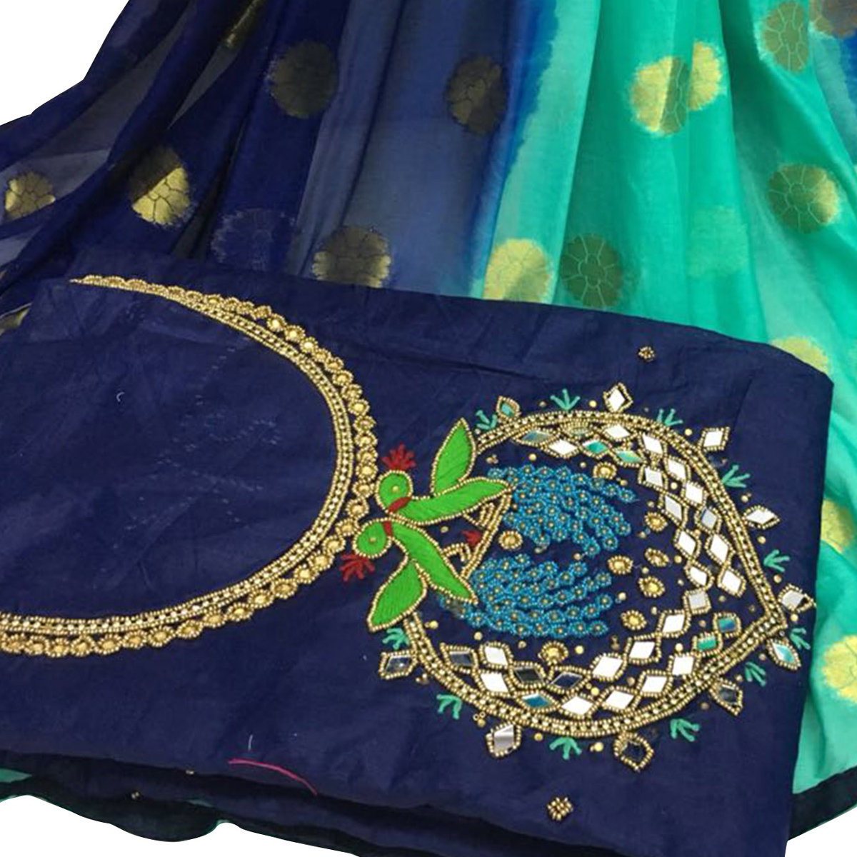 Pleasance Navy Blue Colored Partywear Embroidered Modal Chanderi Silk Dress Material