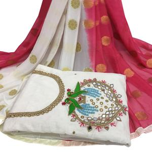 Blooming White Colored Partywear Embroidered Modal Chanderi Cotton Dress Material