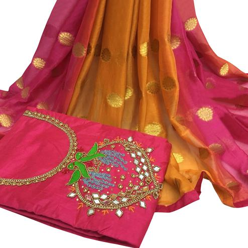 Radiant Deep Pink Colored Partywear Embroidered Modal Chanderi Cotton Dress Material