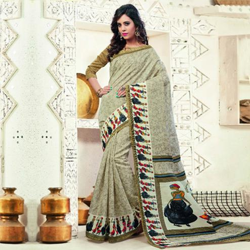 Cream - Olive Green Printed Silk Saree