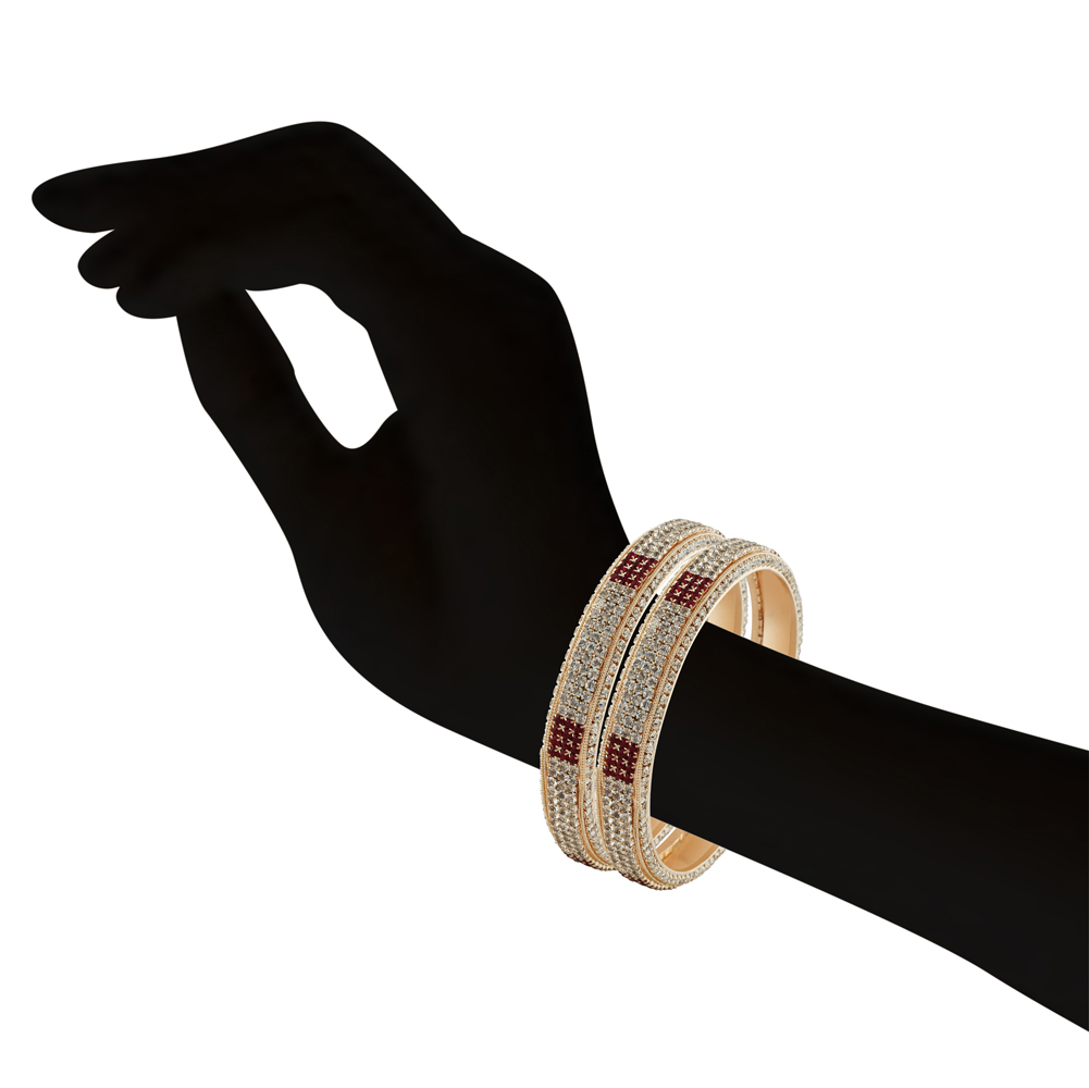 Maroon Stone & Rose Gold Finishing Bangle