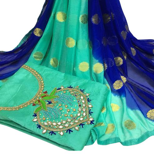 Gleaming Rama Green Colored Partywear Embroidered Modal Chanderi Cotton Dress Material