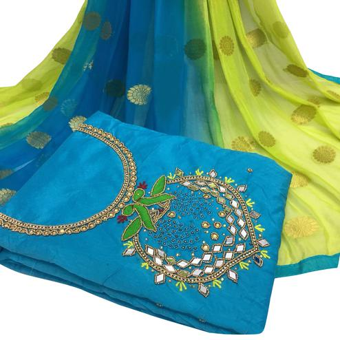 Pleasant Sky Blue Colored Partywear Embroidered Modal Chanderi Cotton Dress Material