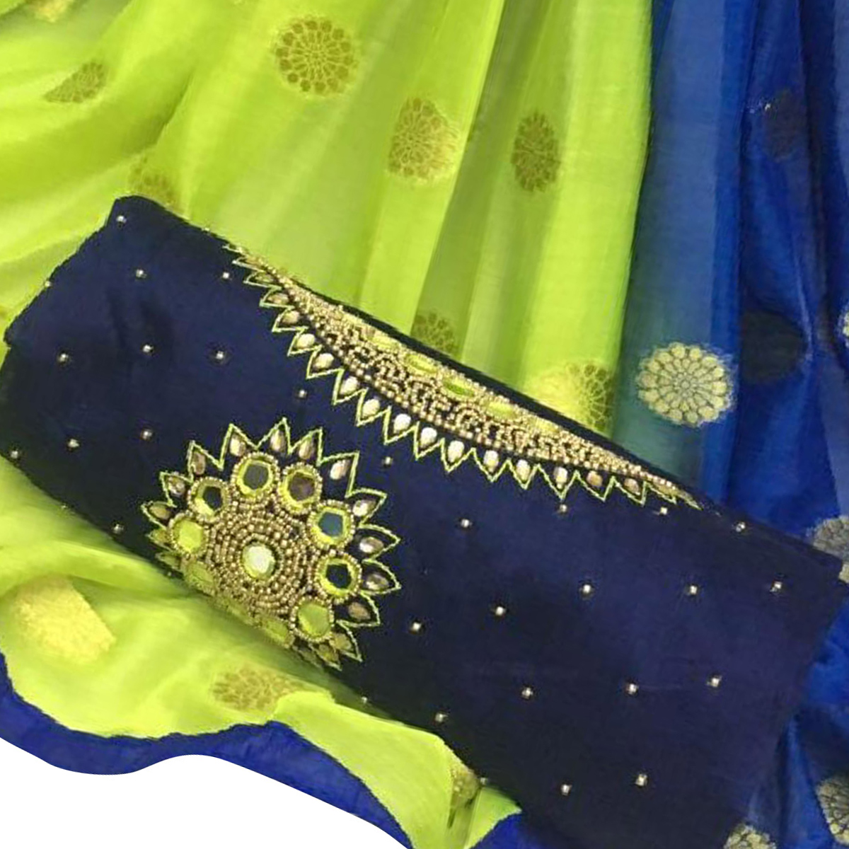 Precious Navy Blue Colored Partywear Embroidered Modal Chanderi Silk Dress Material