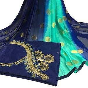 Elegant Navy Blue Colored Partywear Embroidered Modal Chanderi Cotton Dress Material