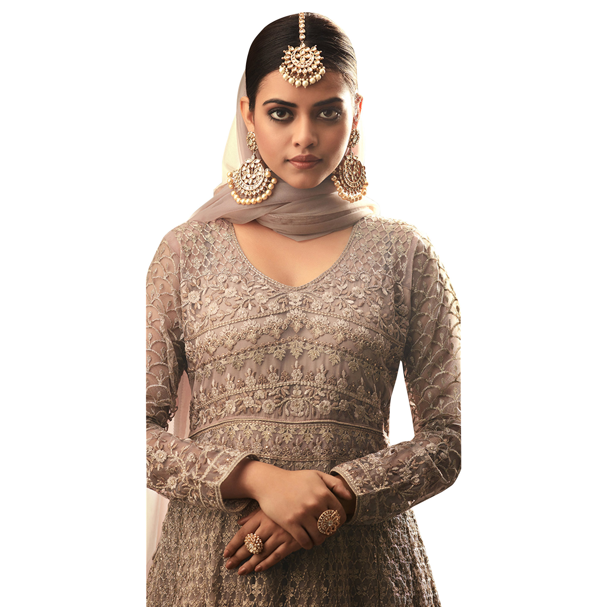 Attractive Gray Colored Partywear Embroidered Heavy Net Anarkali Suit