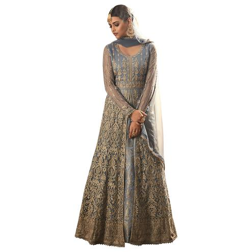 Amazing Forest Blue Colored Partywear Designer Embroidery Heavy Net Anarkali Suit