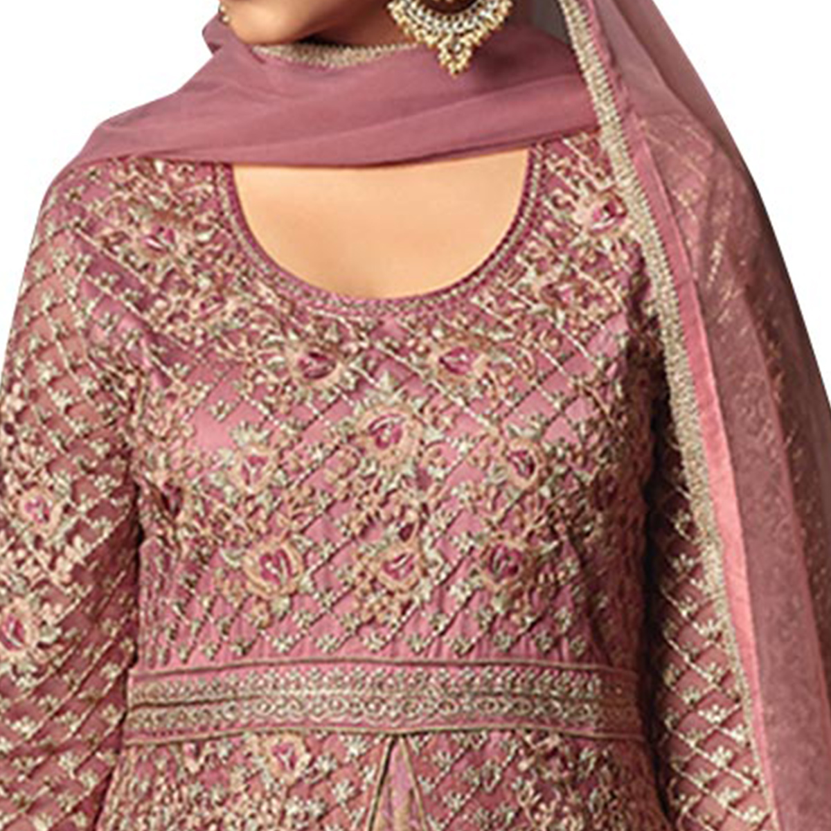 Adorable Pastel Pink Partywear Designer Embroidery Heavy Net Anarkali Suit