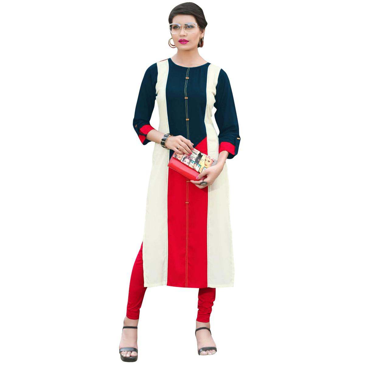Flamboyant Rama Green Colored Casual Wear Heavy Rayon Kurti