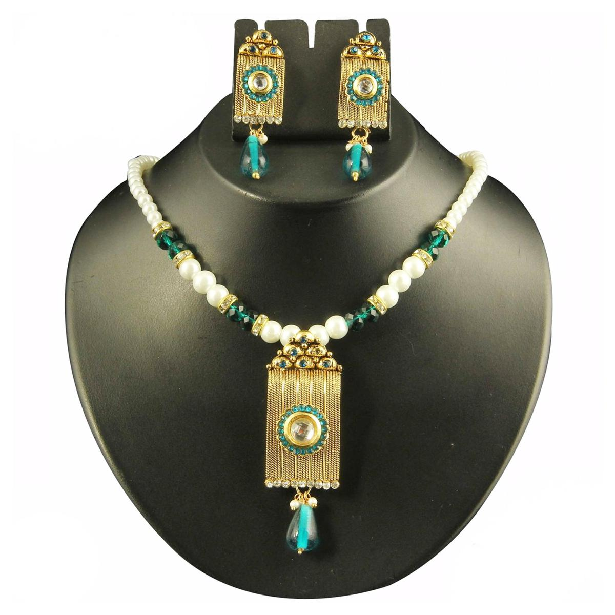 Blue Austrian Stone Pearl Antique Gold Finish Necklace Set