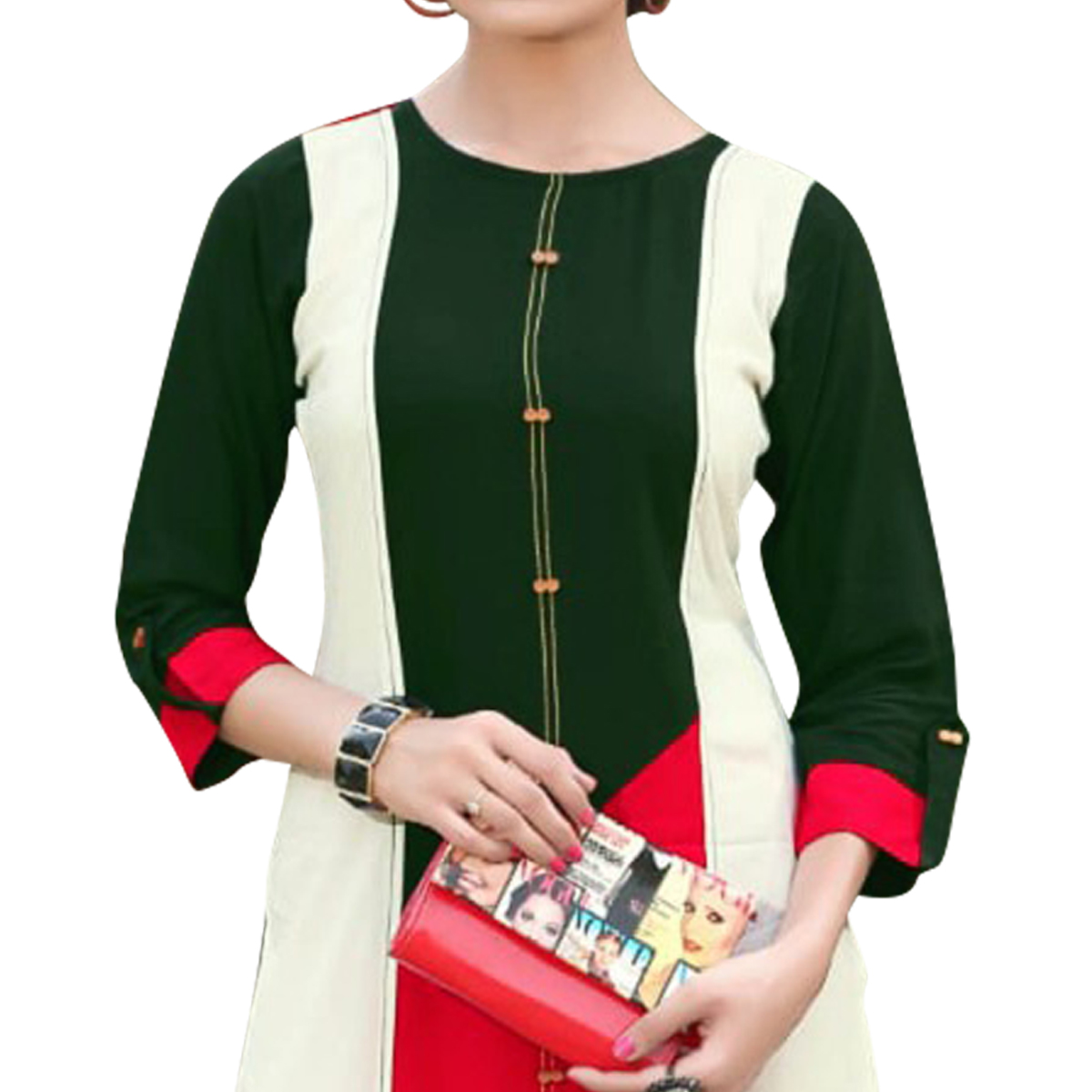 Appealing Green Colored Casual Wear Heavy Rayon Kurti