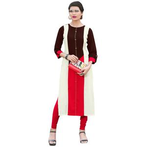 Exotic Brown Colored Casual Wear Heavy Rayon Kurti