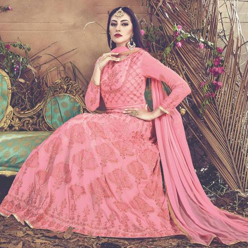 Sophisticated Pink Colored Embroidered Partywear Faux Georgette Anarkali Suit